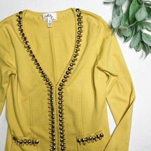 MILLY | sz P yellow beaded cardigan